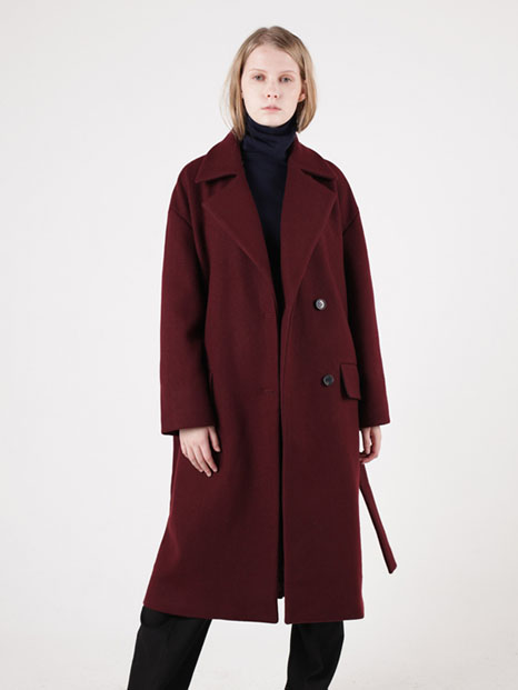15FW OVERSIZED WOOL COAT BURGUNDY