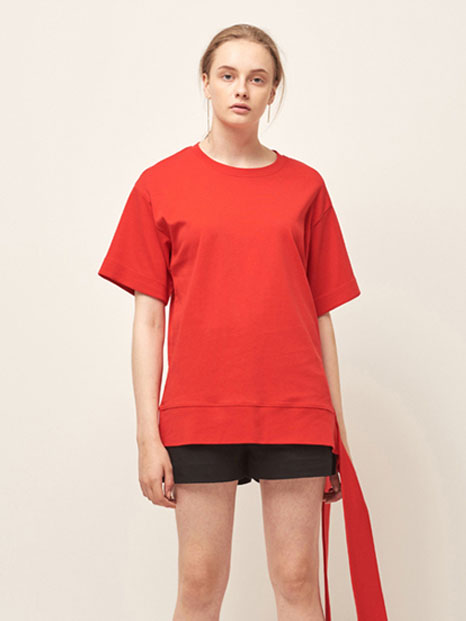 16RESORT SIDE STRING T-SHIRT ORANGE RED