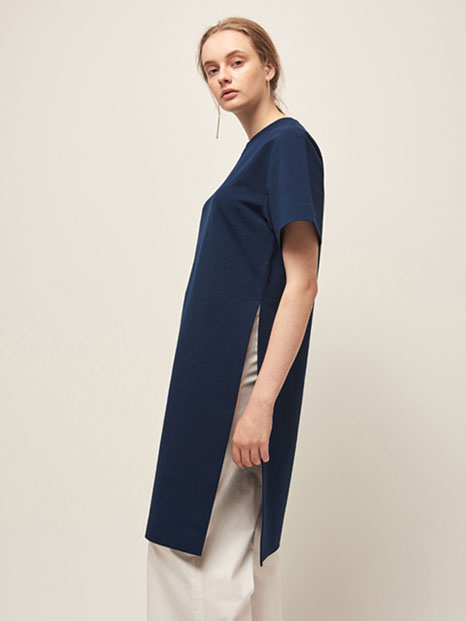 16RESORT SIDE SLIT TUNIC DRESS NAVY