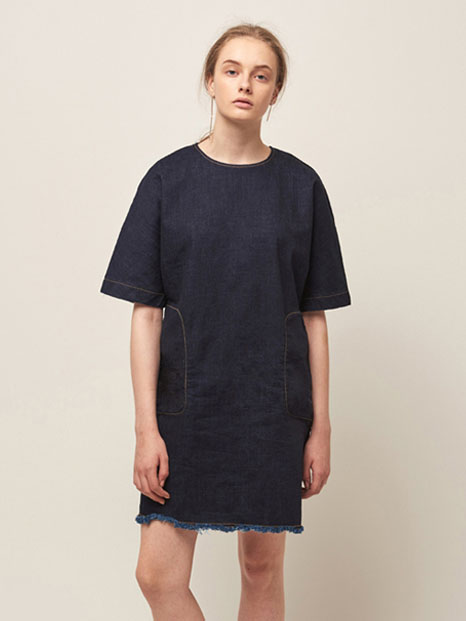 16RESORT DENIM SHORT DRESS INDIGO BLUE