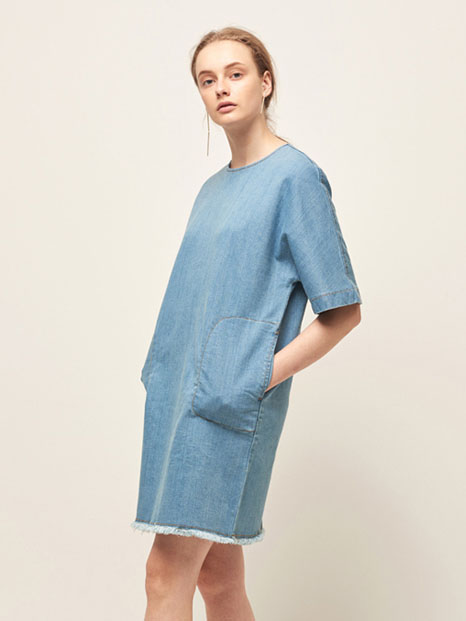 16RESORT DENIM SHORT DRESS SKY