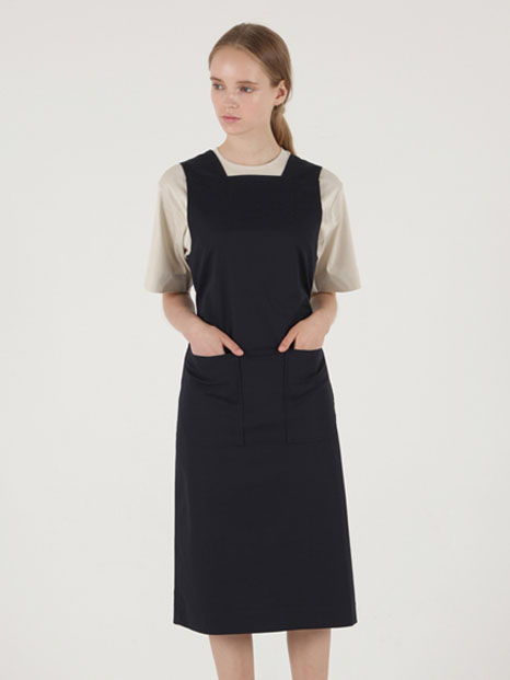 [MOHAN X FIFTY POT] STRING MIDI APRON DRESS DEEP NAVY