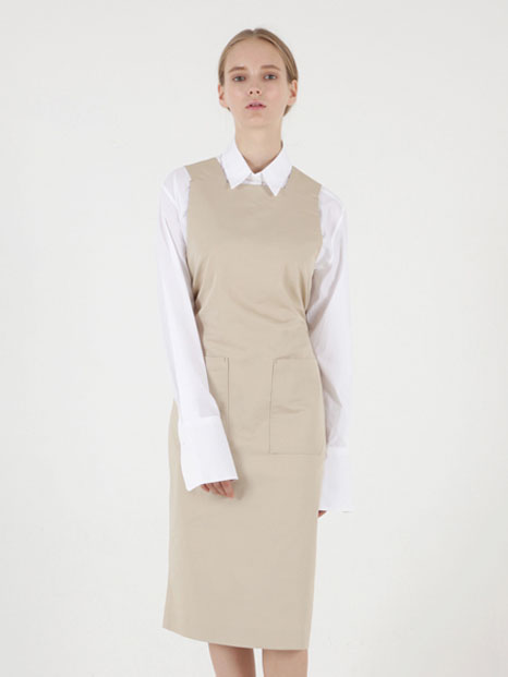 [MOHAN X FIFTY POT] STRING MIDI APRON DRESS DEEP BEIGE