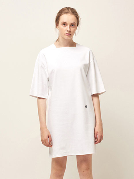 16RESORT SQUARE NECK DRESS WHITE