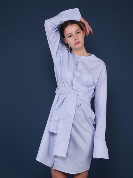 16SS STRIPED SHIRT DRESS SKY