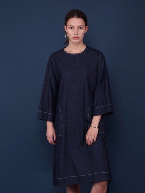 16SS DENIM MAXI DRESS DARK BLUE