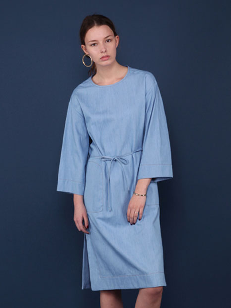 16SS DENIM MAXI DRESS SKY