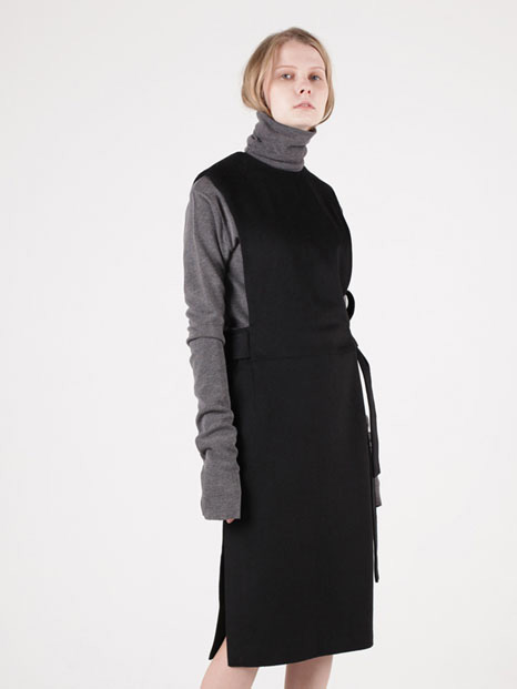 15FW OVERALL WOOL DRESS BLACK