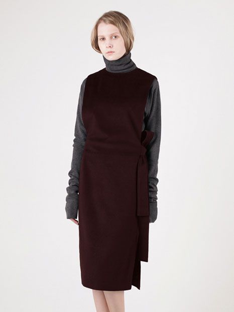 15FW OVERALL WOOL DRESS BURGUNDY