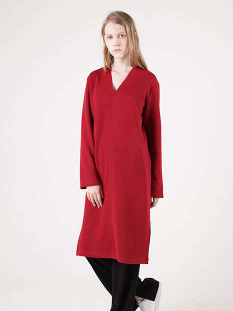 15FW V-NECK TUNIC DRESS RED