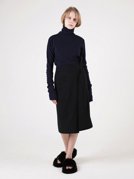15FW WOOL WRAP SKIRT BLACK