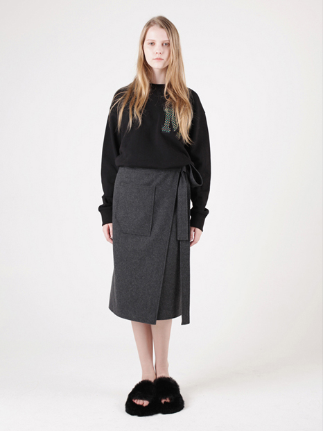 15FW WOOL WRAP SKIRT CHARCOAL
