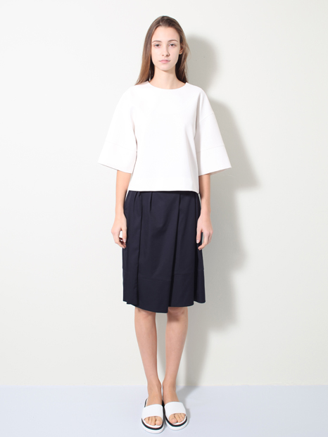 15SS SIDE PLEATS SKIRT NAVY