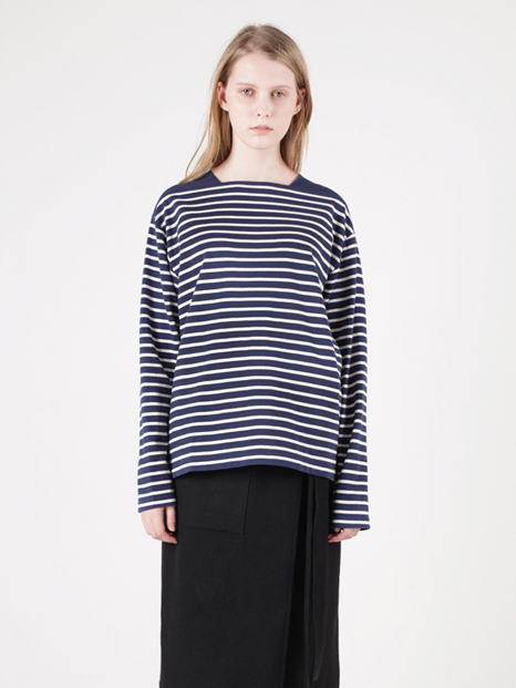 15FW BOAT NECK STRIPED T-SHIRT NAVY