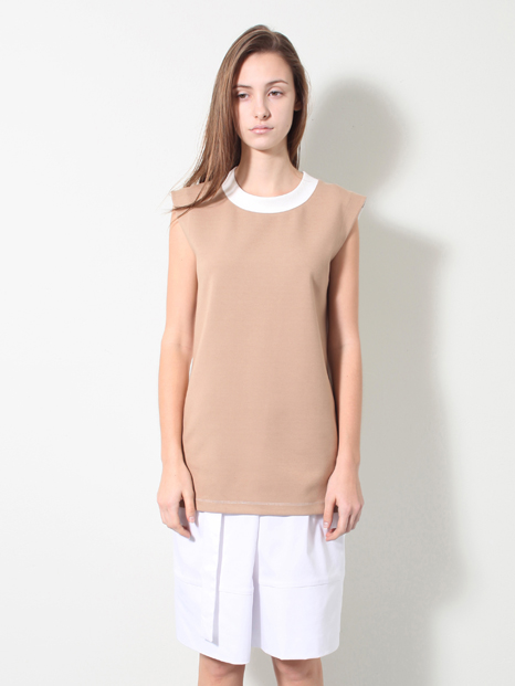 15SS TWO TONE SLEEVELESS T-SHIRTS BEIGE
