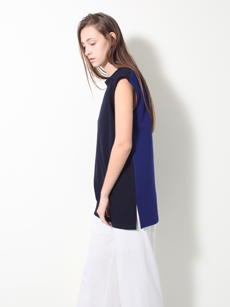 15SS TWO TONE SLEEVELESS T-SHIRTS BLUE