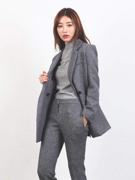 SIMPLE TAILORED JACKET GRAY