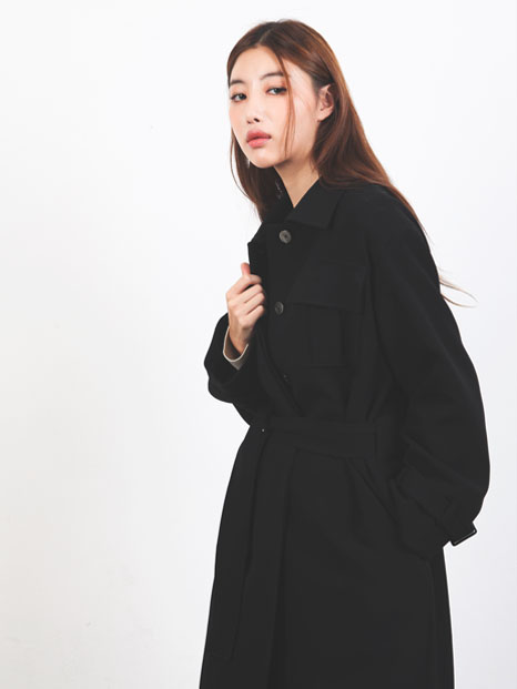 BELT TRENCH COAT BLACK