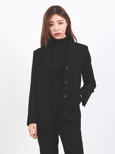 THREE BUTTON JACKET BLACK
