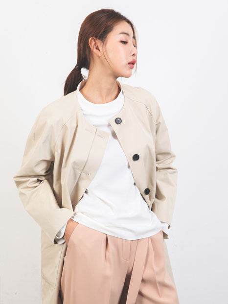BASICS COAT BEIGE