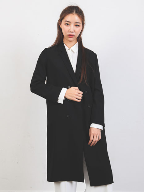 THREE BUTTON COAT BLACK
