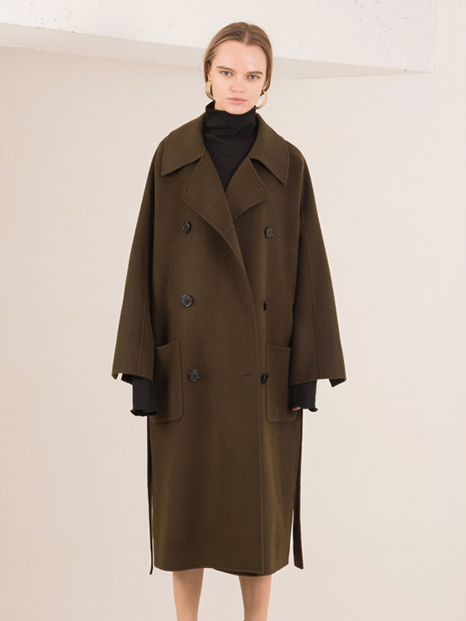 16FW OVERSIZED DOUBLE HAND MADE COAT KHAKI