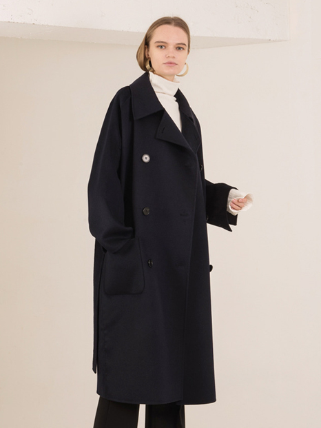 16FW OVERSIZED DOUBLE HAND MADE COAT NAVY