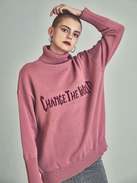 [13month]VG turtleneck knitwear pink