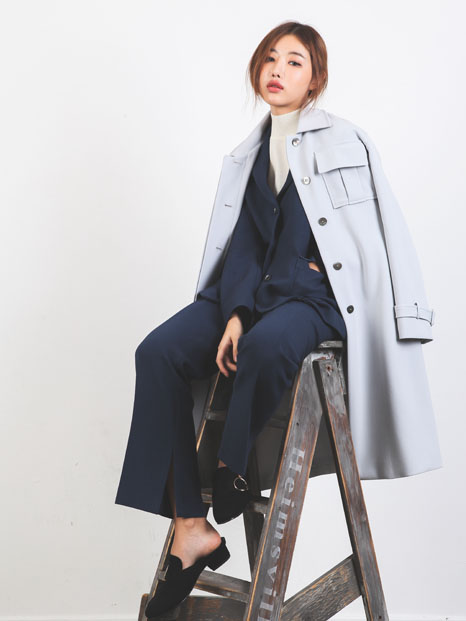 BELT TRENCH COAT SKY BLUE
