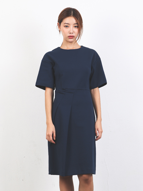 FRONT TUCK MIDI ONE-PIECE NAVY