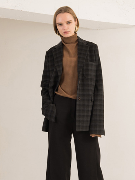 16FW CHECK WOOL BLAZER BROWN