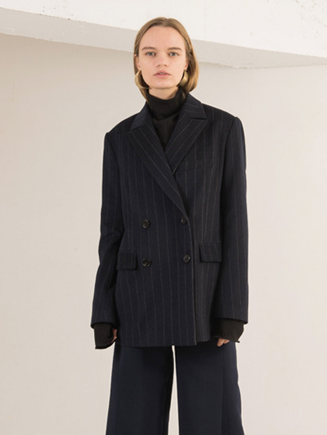 16FW STRIPED DOUBLE WOOL BLAZER NAVY