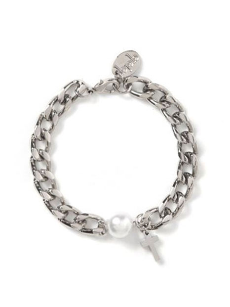 bpb chain pearl cross bracelet