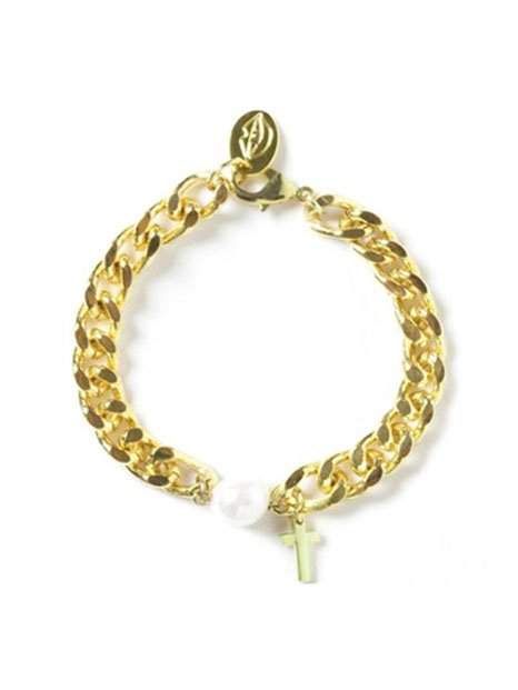 bpb gold chain bold cross bracelet