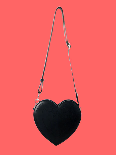 Klover Stitch Heart Bag_Black