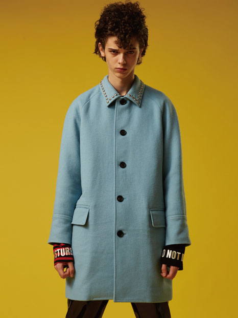 2016FW LOVE STUDDED WOOL COAT - SKY BLUE