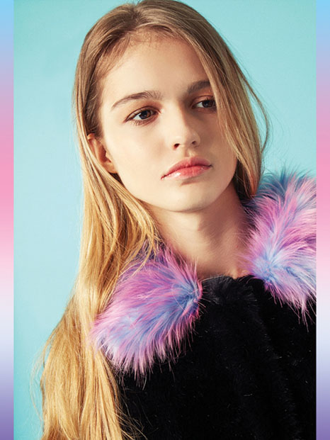Rainbow Pony Collar Fur Coat