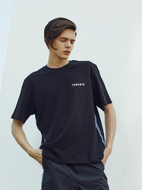 [13month]17hot summer side taping T-shirts (black)