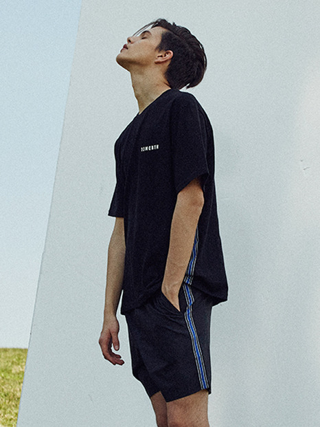 [13month]17hot summer side taping short pants(black)