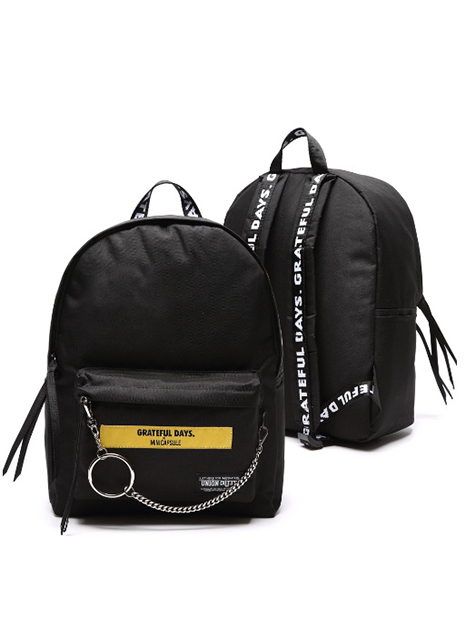 [MINICAPSULE X UNIONOBJET]CANVAS BACKPACK YELLOW LOGO BLACK_STRAYKIDS着用