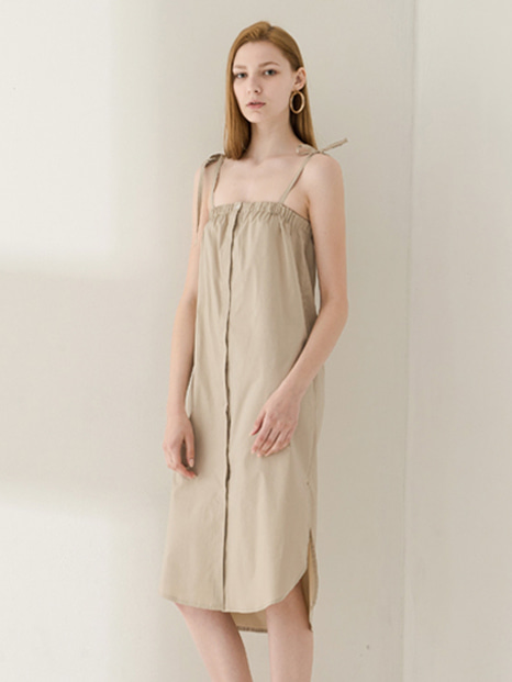 17SS BUTTON STRING SLEEVELESS DRESS BEIGE