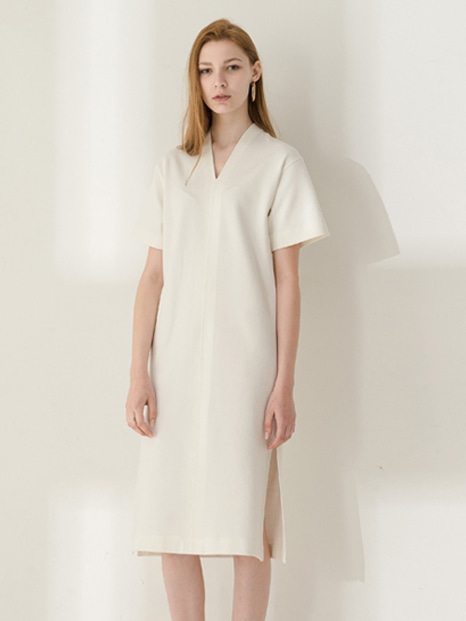 17SS SHORT SLEEVE V-NECK DRESS WHITE