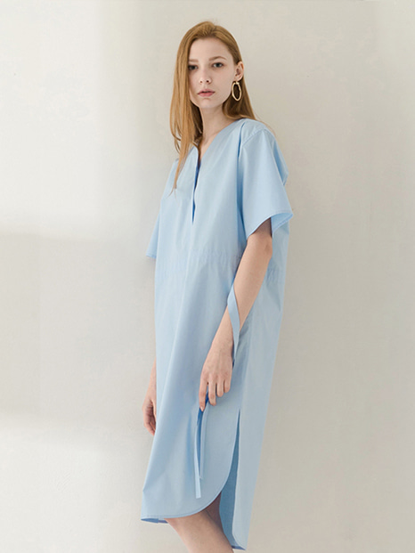 17SS STRING V-NECK SHIRT DRESS SKY