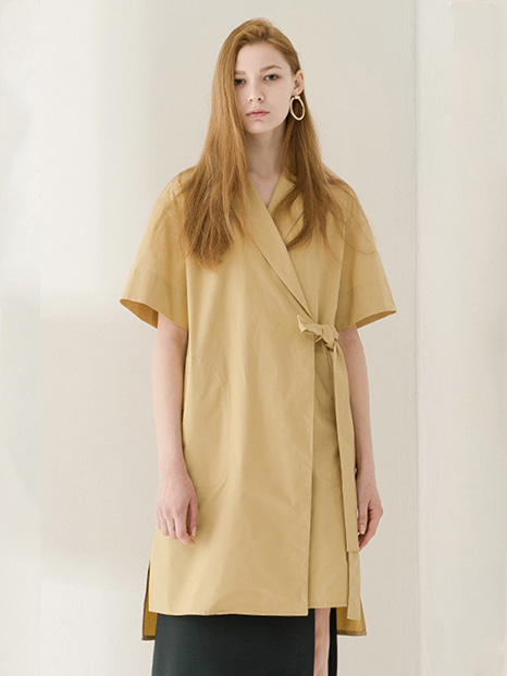 17SS WRAP STRING SHIRT DRESS YELLOW