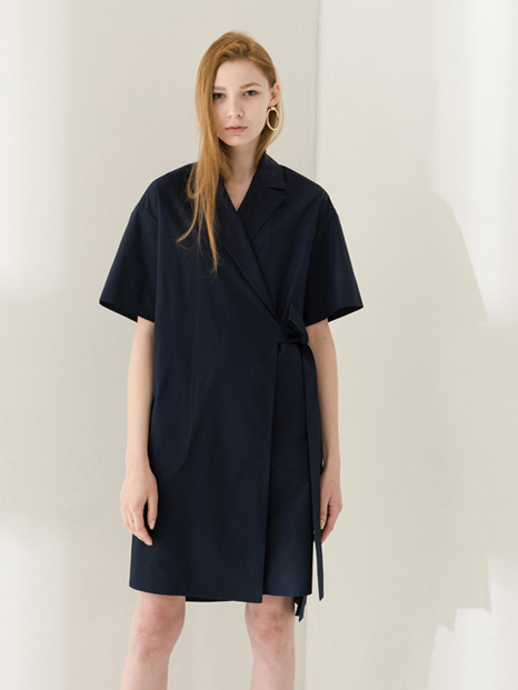 17SS WRAP STRING SHIRT DRESS NAVY