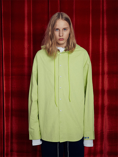 [13month]OVERSIZE HOOD SHIRT (LIME)