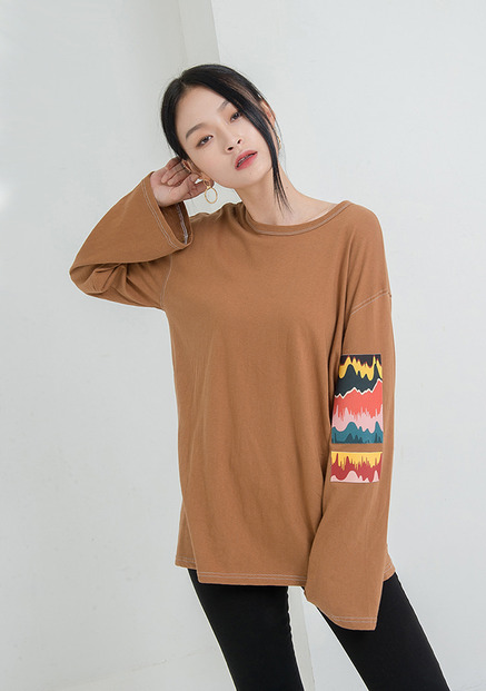 [NU PARCC]Patched Unisex Tee Brown