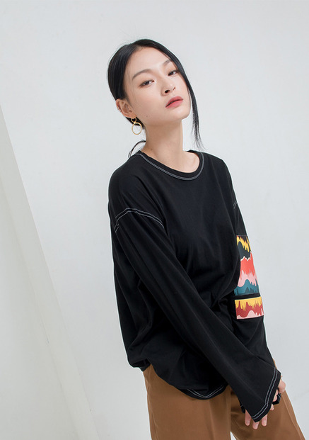 [NU PARCC]Patched Unisex Tee Black