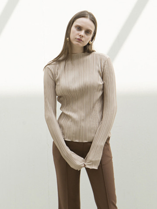 17FW LOW CUT PLEATED TOP BEIGE