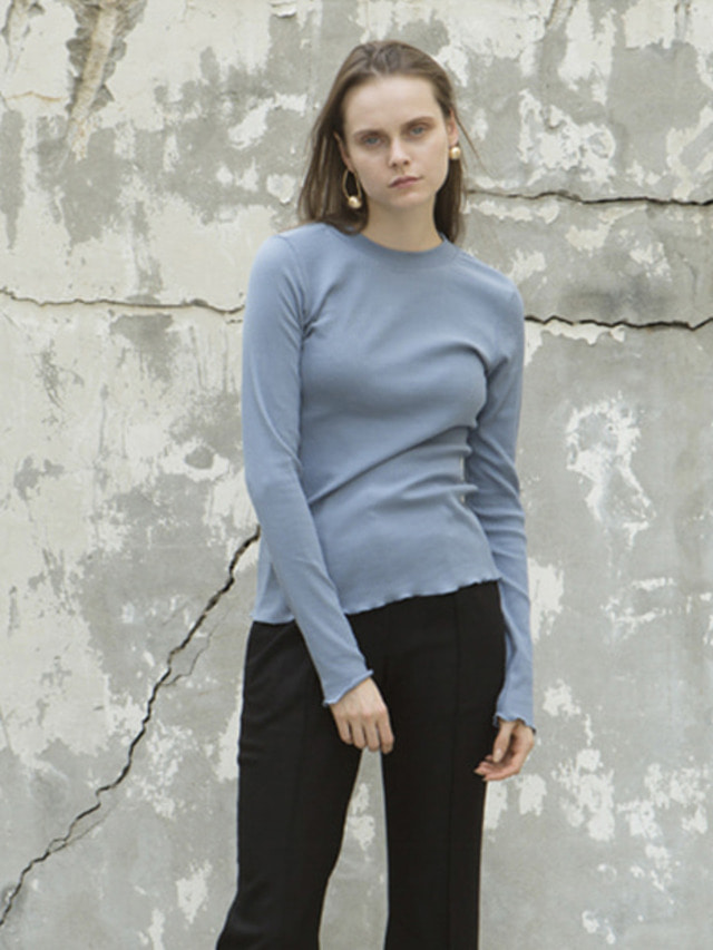 17FW RIBBED ROUND NECK TOP DARK SKY